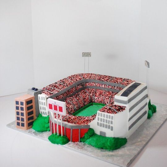 Sculpted UGA Sanford Stadium Grooms Cake