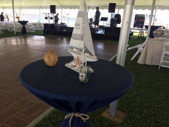 Covered outdoor wedding reception