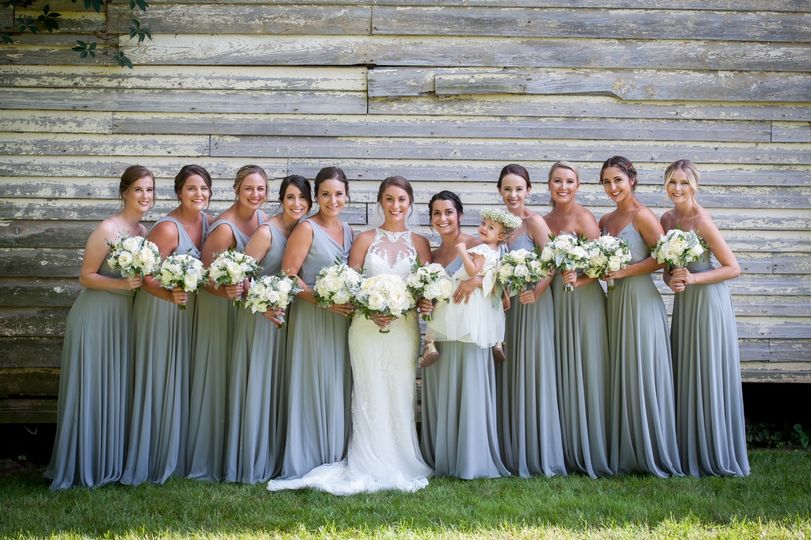Bridesmaids by the barn