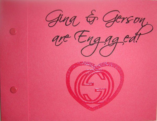 Save the date, matchbook design in strawberry with script and embossed design