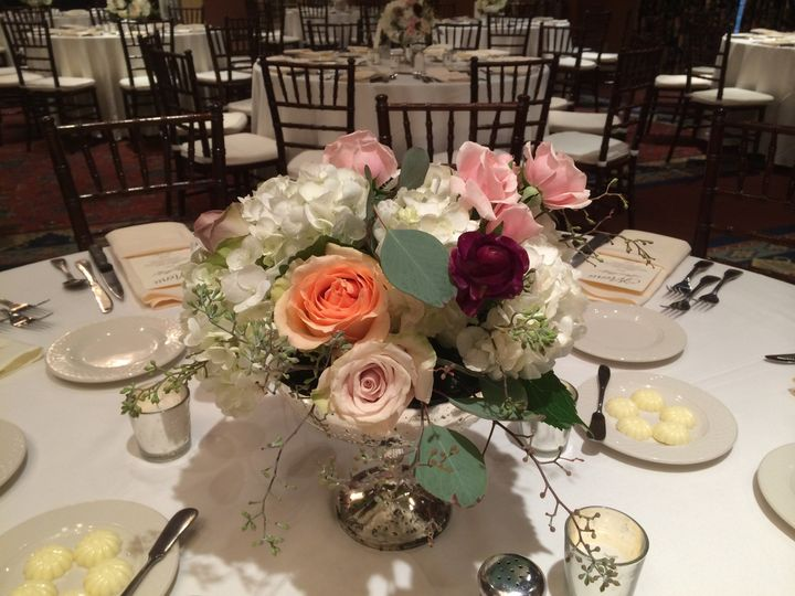 Round table with flower centerpiece