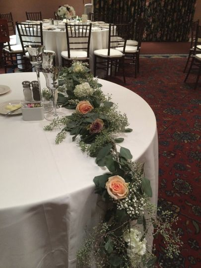 Table with flower decorations