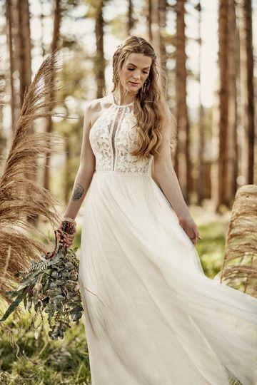 High neck boho wedding dress