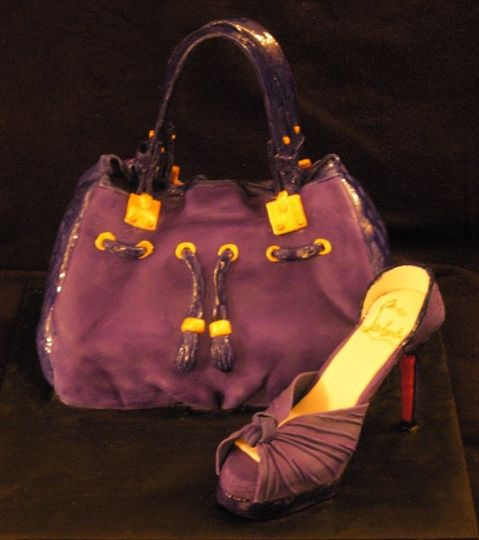 christian Louboutin cake purse with hand made sugar shoe , great for bridal showers