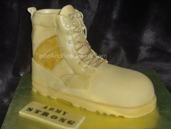 Army boot cake, great grooms cake for the Army Man