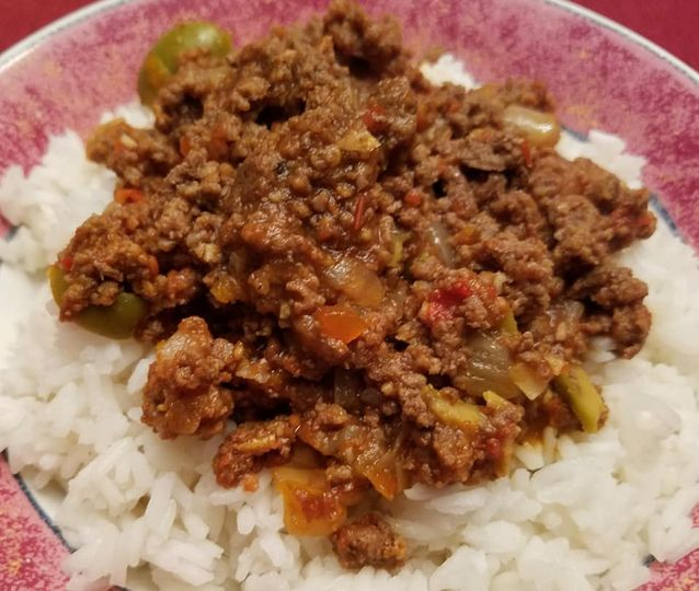 Beef picadillo with rice