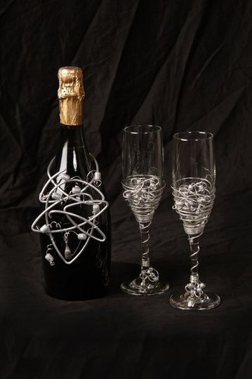 Champagne Bottle Topper and Toasting Flute Set