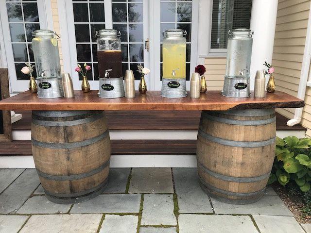 Wine Barrel Beverage Station