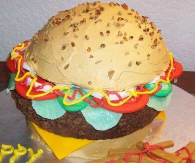 Hamburger novelty cake