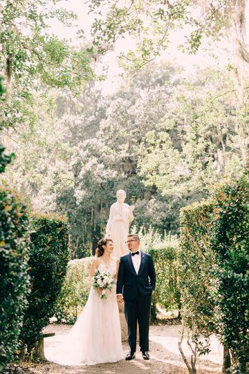 Newlyweds with foliage