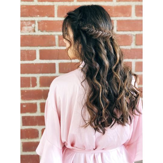 Boho Fishtail Braid Half Updo