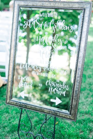 Mirror calligraphy welcome sign for a literary themed wedding. Photo by Catherine Anne Photography...