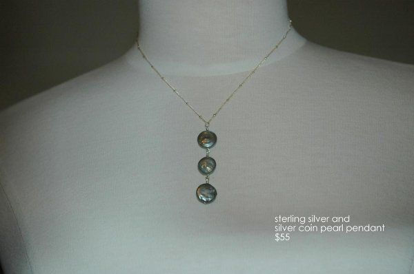 sterling silver and siver coin pearl necklace. Great for cocktail parties, mother of the occasion...