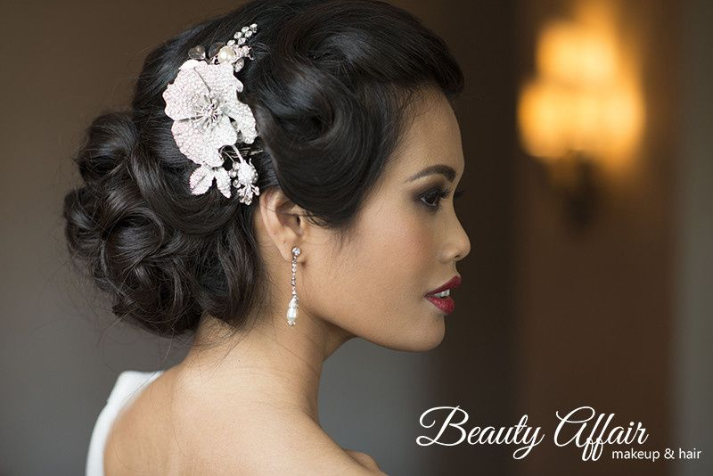 fancy sleek updo asian vietnamiese bridal makeup r