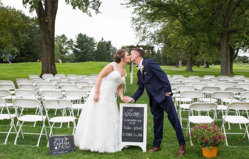 Pre-ceremony kiss