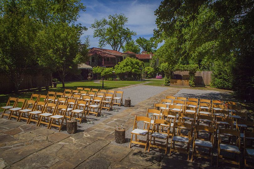 Rustic ceremony setup at Arbor for 50 guests
