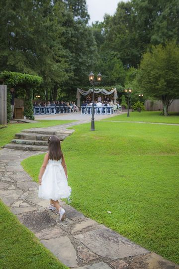 Walk to the Arbor for ceremony