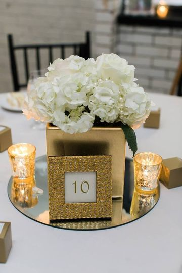 Gold Centerpiece at 214 Martin Street | Kate Hubler Photography