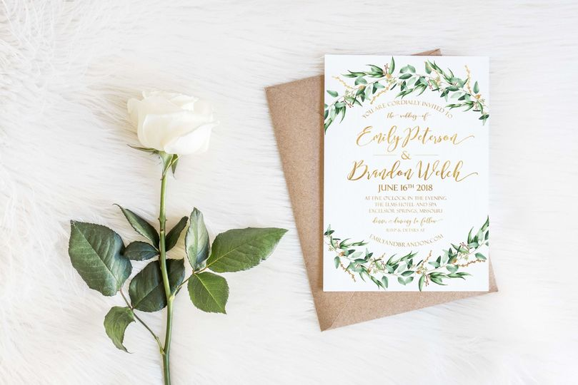 Single Piece Wedding Invite with Gold Foil