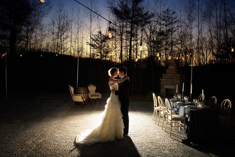 Nostalgic Lighting over the patio at Charlyn Farms