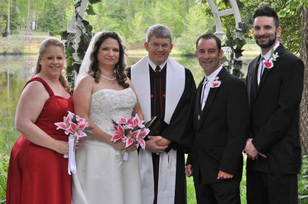 The full wedding party. They only had a best mand and a matron of honor and the Pastor