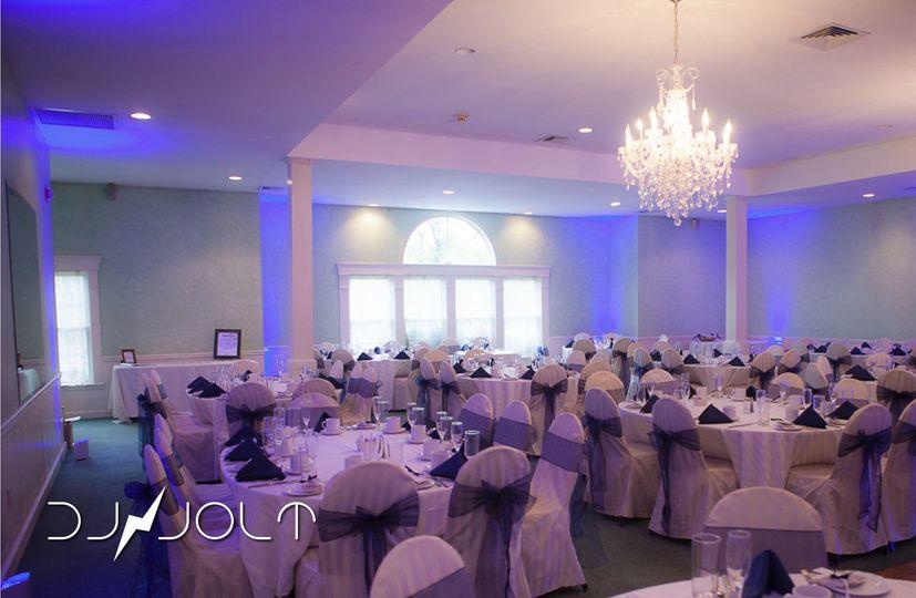 Reception hall and blue uplighting