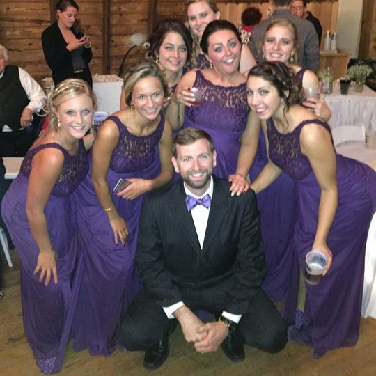 The groom and the bridesmaids