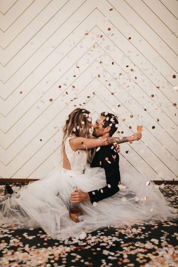 Couple under confetti