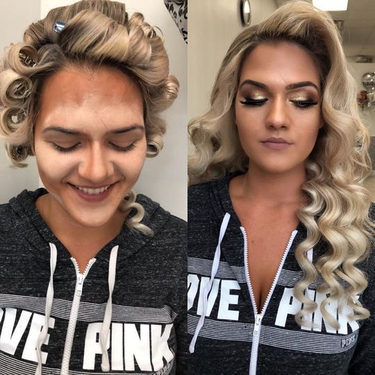 Transformation with waves and makeup