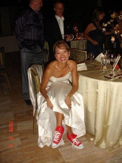 Bride wearing sneakers