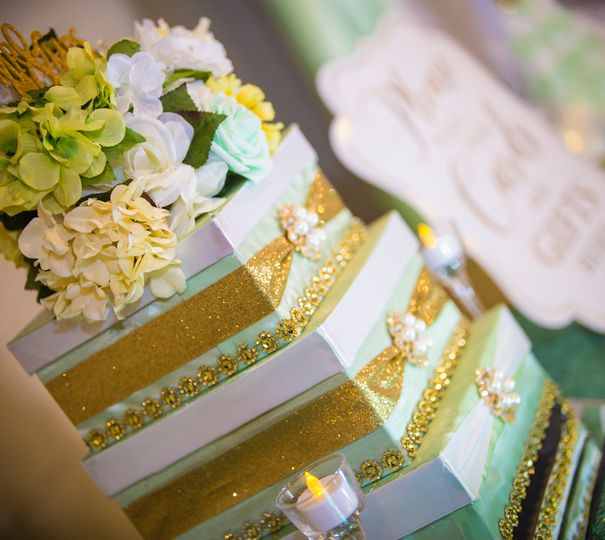 Mint green and gold card box