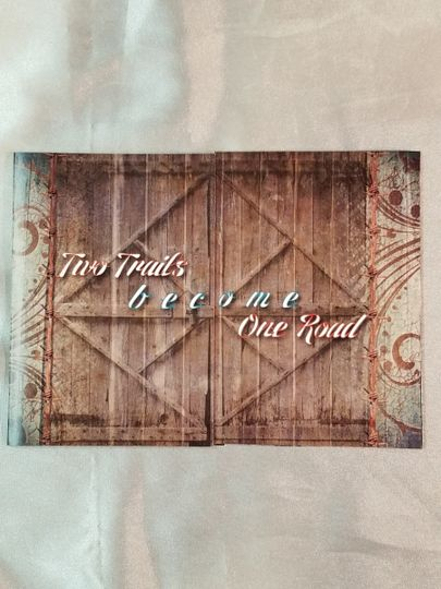 Rustic barn door invitation, this is the front when folded.
