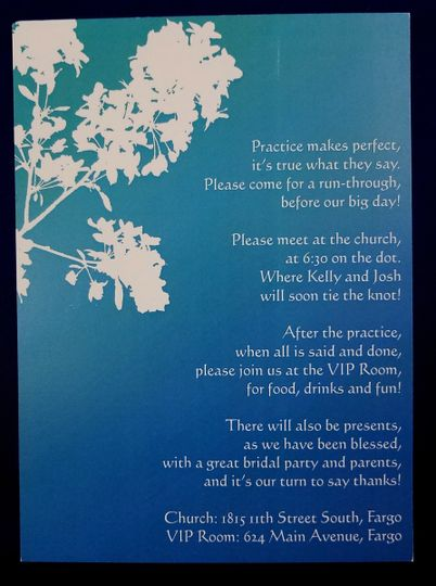 Blue watercolor invitation with white outline flowers