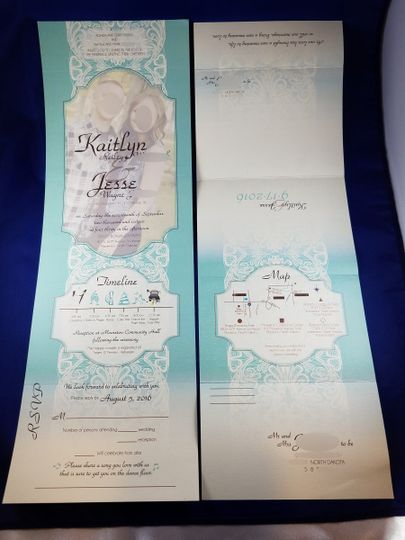 Blue lace send n send invite. folds to 4 x 6 to mail with a postcard stamp and has  a tear off rsvp...