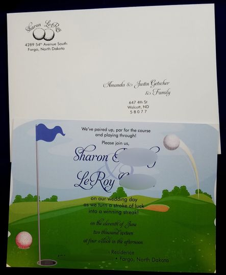 Golf themed save the date card with printed envelope