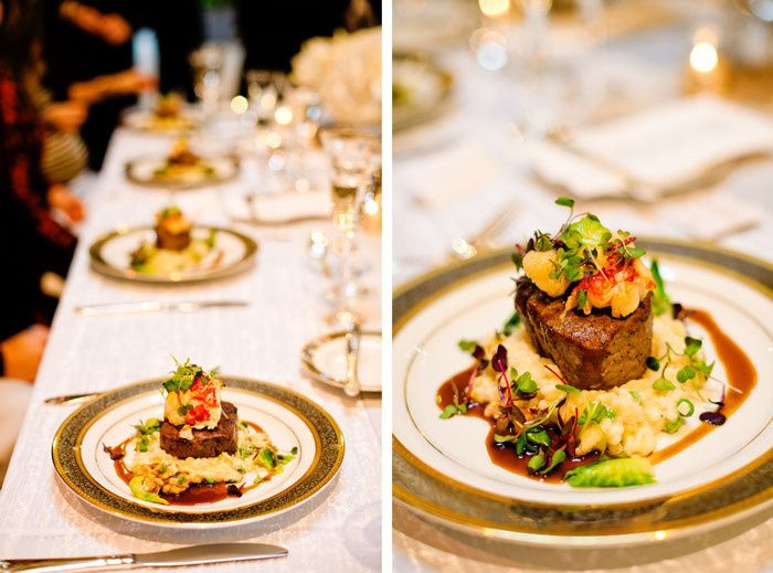 Butter poached lobster and beef tenderloin with truffled pea risotto and pinot noir brussel sprout...
