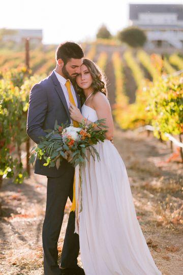 Vineyard with newlyweds
