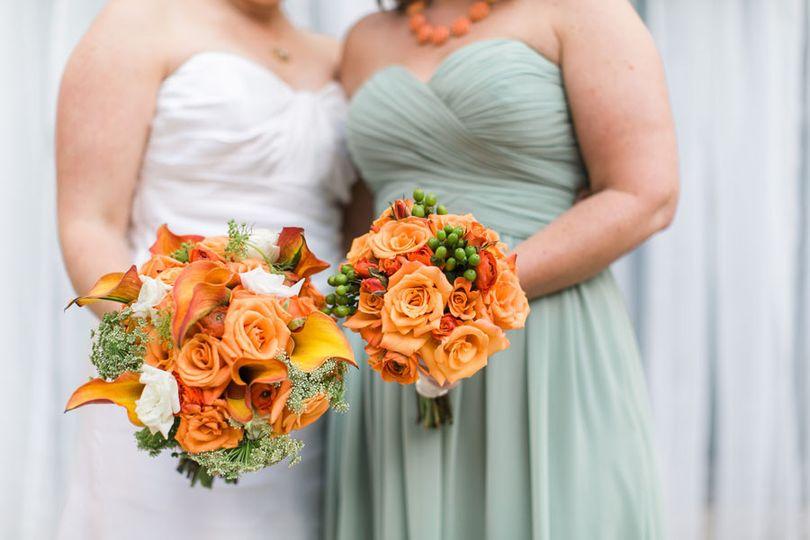 Double orange roses
