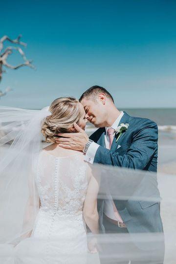 Newlyweds' kiss