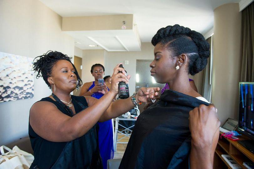 Bride and her makeup artist