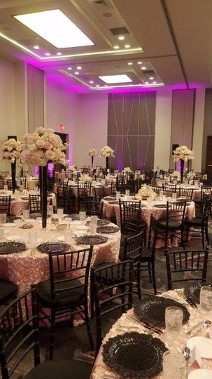 Tall centerpieces in the ballroom