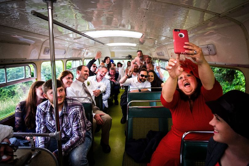 Guests on wedding bus