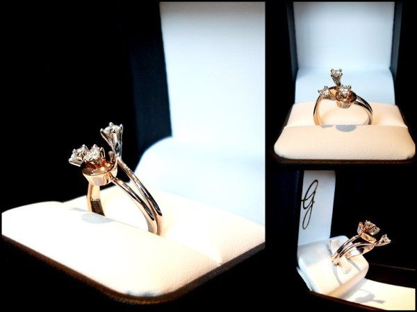 3 stone 18k rose and white gold unique engagement ring.  All stones VS/G