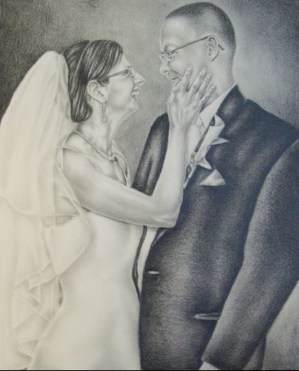 """Bride with Groom, Drawing from photo, 8""""x10"""", Graphite Pencil on Paper"""