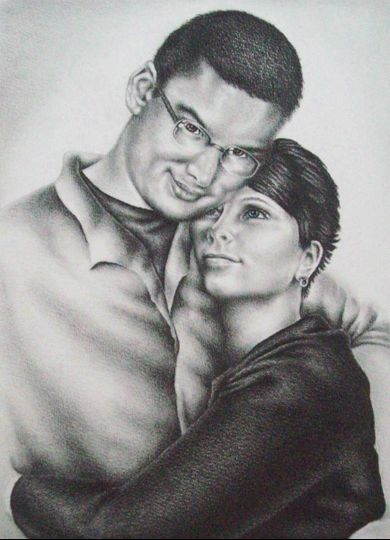 "Engagement Portrait from Photo, 8""x10"", Graphite Pencil on Paper"