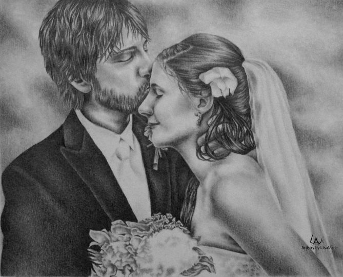 """Wedding Portrait from Photo, 11""""x14"""", Graphite Pencil on Paper"""