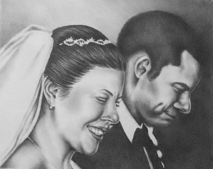 """Wedding Portrait from Several Photos, 16""""x20"""", Graphite Pencil on Paper"""