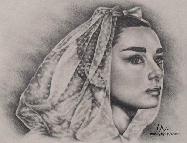 """Inspiration Portrait for Bride of Audrey Hepburn, 8""""x10"""", Graphite Pencil on Paper"""