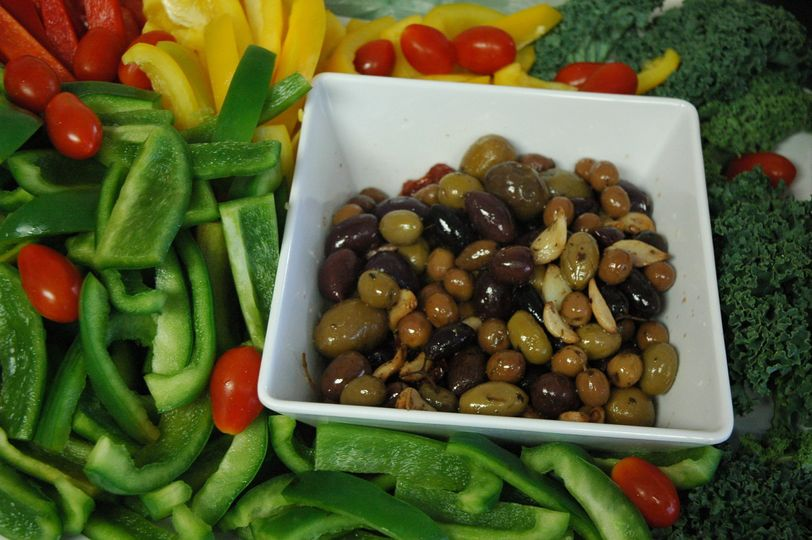 Olive selections, vegetable crudite - hors d'oeuvres - wedding catering options for every menu...
