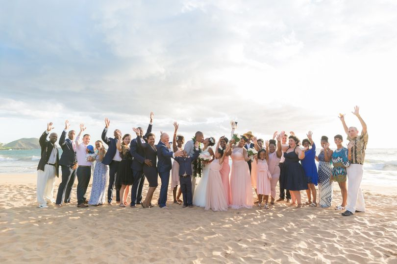 Wedding party at the beach